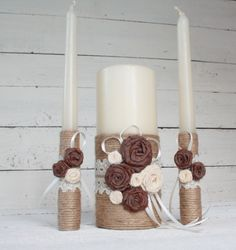 Rustic Wedding Unity Candle Set by SimplyCosyMBA on Etsy
