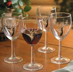 American Elk 10oz Wine Glasses– Set of Four - American Expedition