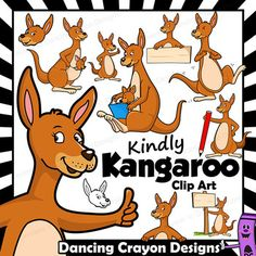 Kangaroo Clip Art with Signs: A huge range of kangaroo clip art in a fun cartoon style! Perfect for your Australian animals studies. Joey Kangaroo, Baby Joey, Native Australians, Letter K, Australian Animals, Flags Of The World, Drawing Stuff, Drawing Poses, Kangaroos