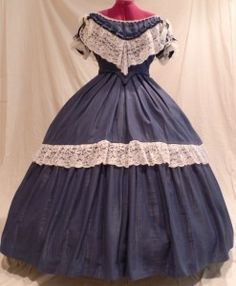 Blue Moire Cotton Ball Gown