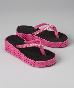 Take a look at this Fuchsia & Black Rhinestone Flip-Flop by Luna Kicks on #zulily today!