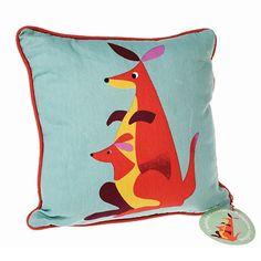 #Cushion #Kangaroo kussen: dit prachtige kangaroo print kussen van 100% katoen mag niet ontbreken in de kinderkamer. from www.kidsdinge.com                             http://instagram.com/kidsdinge          https://www.facebook.com/kidsdinge/ #kidsdinge #onlinestore #Kidsroom #babyroom #Toys #Speelgoed #worldwideshipping