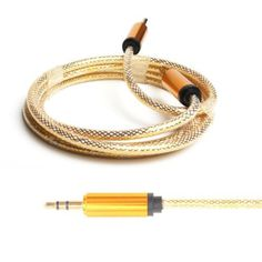 Gold 3.5mm Male to Male Car Aux Cord Stereo Audio Cable for Phone iPod