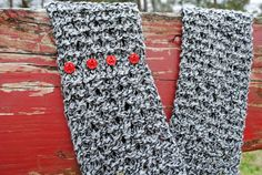 Black and White Lace Knit Infinity Scarf with Red Buttons