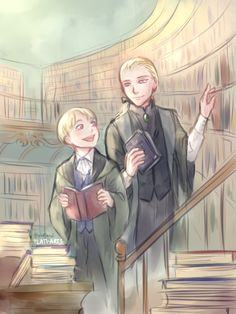 Daddy Draco and his young bookworm son Scorpius