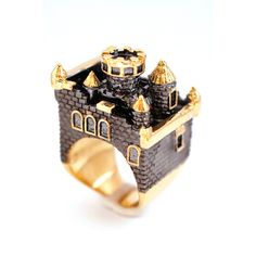 Gold Rhodium Castle Ring by MONVATOO London