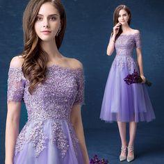 2016 A Line Off The Shoulder Short Sleeve Lace Tea Length Elegant Purple Evening Dress Formal Special Occasion Dresses