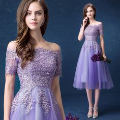 2016 A Line Off The Shoulder Short Sleeve Lace Tea Length Elegant Purple Evening Dress Formal Special Occasion Dresses