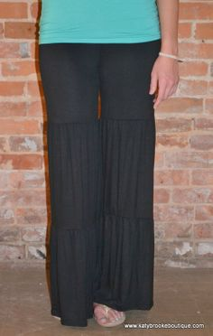 Black Ruffle Pants: Katybrooke Boutique