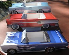 18 ~ Assorted Classic Cardboard Cars * Food / Snack Tray * Party Planner - Favor