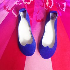 Handmade Ballet Flats Shoes in Cobalt Royal Blue Leather Slowly and truly handmade only and especially for you!