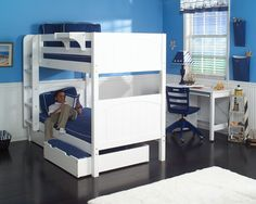Hot Shot 1 White Bunk Bed with Under Bed Storage Unit by Maxtrix at Wayside Furniture