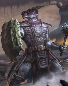 m Dragonborn Fighter plate shield mace underdark Argonian   Tumblr