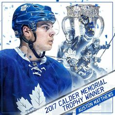 After a season that ranked first among NHL rookies in both categories and second in the entire NHL in goals, Auston Matthews is the 2017 Calder Memorial Trophy winner as NHL Rookie of the Year. Hockey Teams, Ice Hockey, Hockey Stuff, Nhl Awards, Maple Leafs Hockey, Hockey Pictures, Hockey Boards, Ice King