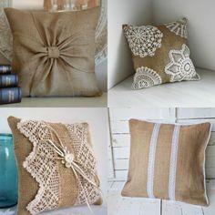 Cojines elaborados en arpillera.♥ Bow Pillows, Burlap Pillows, Sewing Pillows, No Sew Curtains, Burlap Curtains, No Sew Pillow Covers, Decorative Pillow Covers, Fabric Rosette, Pillow Crafts