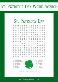 Free St. Patrick's Day Word Search Printable | Simply Kelly Designs #StPatricksDay #wordsearch #printable