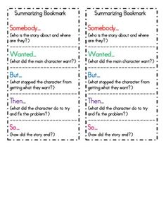 This summarizing bookmark can be cut, mounted, and laminated.  It is a great tool to help student's learn how to summarize texts.  It uses the infamous,
