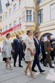 Hereditary Grand Duke Guillaume and Hereditary Grand Duchess Stéphanie, Prince Félix and Princess Claire of Luxembourg attend the Pontifical Mass for final procession at Notre-Dame Cathedral in Luxembourg, on May 21, 2017, as part of the Catholic Octave celebrations.