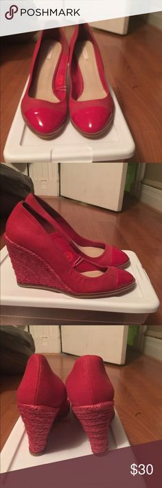 🆕 ZARA Red Wedge Heel Shoes Red canvas with patent leather toe front. Red espadrilles wedge bottom. Zara Shoes Wedges