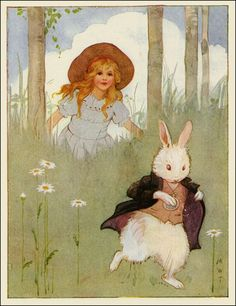 Margaret Tarrant ~Alice Followsthe White Rabbit~ from Alices's Adventures in Wonderland ~ 1916 ~ via The Pictorial Arts