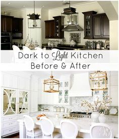 Dark to Light Kitchen Before and After - Elegant White Kitchen Reveal.   2017 Randi Garrett design