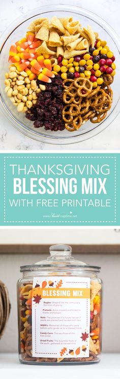 Thanksgiving blessing mix + free printable -a sweet and salty snack mix that is perfect for gift giving or holiday snacking.