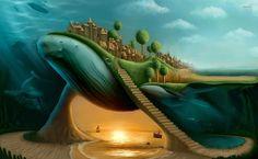 Kingdom on whale HD Wallpaper