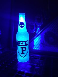 NCAA Pennsylvania Quakers Football 12oz Beer Bottle Light LED Bar Man Cave