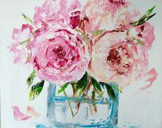 Original oil painting - vase of flowers - peonies, floral, still life, palette knife painting, impressionism Abstract Flowers, Watercolor Flowers, Watercolor Art, Painting Flowers, Flowers Vase, Watercolor Pictures, Painted Vases, Palette Knife Painting, Painting Still Life