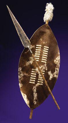 Zulu shield and spear African Symbols, African Tribes, African Culture, African History, African Spear, Zulu Warrior, Shield Tattoo, African Christmas, African Tattoo