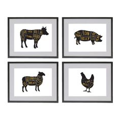 4 8x10 Butchers Meat cuts prints by OldEnglishCo, £30.00