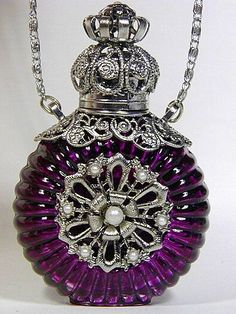 Czech Perfume/Oil/Holy Water Bottle Pendant Necklace