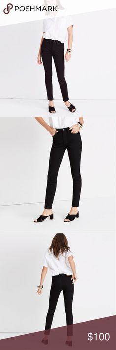 "9"" high-rise skinny jeans in isko stay black BRAND NEW MADEWELL DENIM! Current style. Bought the wrong size and can't return! Worn once (For like, 15 minutes!) Selling below retail value, so this is a great steal! They are NEVER this cheap!   I work for the company, so leave any questions you may have in the comments and I'll be able to answer! Madewell Jeans Skinny"