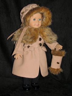 Cashmere Coat, Hat and Muff. MHD pattern. Sewn by Doll Clothes By Shirley SOLD