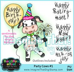 Cute Cow digi stamp set for a variety of occasions!