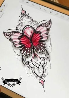 Unique Butterfly Tattoos, Butterfly Tattoo Designs, Butterfly Mandala Tattoo, Unique Hand Tattoos, Baby Tattoos, Love Tattoos, Body Art Tattoos, Tatoos, Feminine Thigh Tattoos
