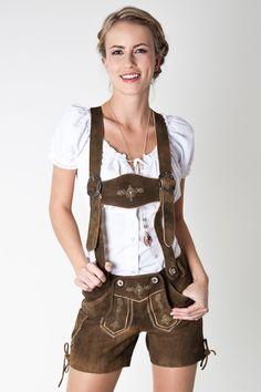Trachtenlederhose Emma, walnuss braun - Online Shop Ludwig und Therese