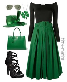 """Spring St.Patrick's outfit 08"" by hime-mahira on Polyvore featuring Valentino, Rochas, Prada and Philip Treacy"