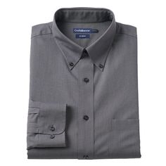 Men's Croft & Barrow® Slim-Fit No Iron Button Down-Collar Dress Shirt, Size: 15.5-32/33, Grey