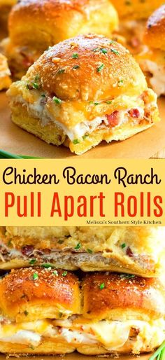 Chicken Bacon Ranch Pull Apart Rolls You are in the right place about Food Recipes Here we offer you the most beautiful pictures about the asian Food Recipes you are looking for. When you examine the Chicken Bacon Ranch Pull Apart Rolls part of the … Chicken Thights Recipes, Chicken Parmesan Recipes, Chicken Salad Recipes, Recipe Chicken, Chicken Meals, Crack Chicken, Chicken Bacon Ranch Crockpot, Pulled Chicken Recipes, Pesto Chicken