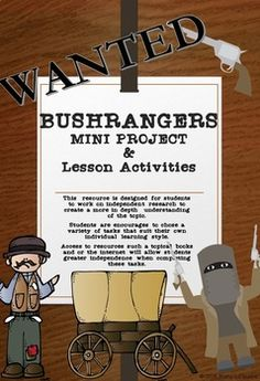 Bushrangers Mini Project, lesson activities and worksheets Kelly's Heroes, Ned Kelly, Gold Rush, Math Centers, Maths, Worksheets, Study, Teaching, Activities
