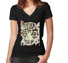'Neon leopard' by Wolfteamshop Jaguar, Shops, V Neck, T Shirt, Stuff To Buy, Shopping, Women, Fashion, Moda