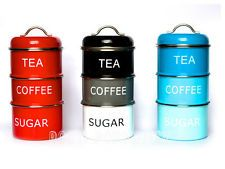 Retro Vintage Stacking Tea Coffee Sugar Red Black Blue Storage Jars Canisters