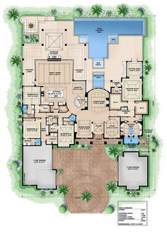 European Style House Plan - 4 Beds 4.75 Baths 8665 Sq/Ft Plan #27-455 Main Floor Plan - Houseplans.com 4 Bedroom House Plans, House Floor Plans, Corner Door, Garage Plans, Car Garage, West Indies Style, Caribbean Homes, Large Family Rooms, Bedroom With Ensuite