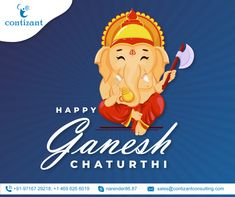 Contizant wishes you a Happy Ganesh Chaturthi. May this auspicious occasion lets you rise and shine in every prospect of life. Be a part of us and have a stress-free experience of working. Basic Website, Custom Website, Content Marketing, Online Marketing, Digital Marketing, Jquery Slider, Social Media Page Design, Companies In Usa, Happy Ganesh Chaturthi