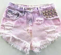 Pink Baby Doll Vintage Denim Shorts - from Knee Deep Denim Dip Dye Shorts, Diy Shorts, Diy Jeans, Diy Ripped Jeans, Diy Neon Fashion, Fashion Outfits, Fashion Clothes, How To Make Shorts, How To Wear