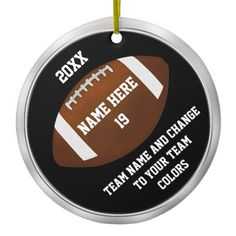 Shop Team Football Ornaments Your TEXT and COLORS created by LittleLindaPinda. Personalize it with photos & text or purchase as is! Football Party Favors, Football Team Gifts, Football Party Supplies, Colorful Christmas Decorations, Black And White Football, Blue Words, Personalized Football, Custom Football, Hex Color Codes