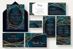 Chic Geometric Wedding Suite by Knotted Design on @Graphicsauthor