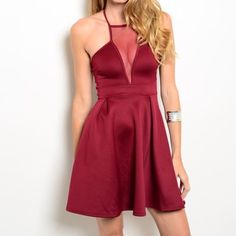 SALE! Burgundy dress • perfect for Valentines day 95% polyester, 5% spandex  	 This scuba knit dress features a halter tie-back neckline with sheer mesh neck panel accent. Inverted pleated waist detailing.   MODEL IS WEARING THE EXACT PRODUCT  Available in Small, Medium, Large, & XL 10% off all bundles of 3+ items   •Comment below what size you'd like & I'll make a separate listing for you to purchase• Dresses Mini