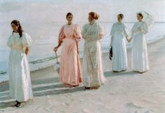 """Promenade on the Beach"" von Michael Peter Ancher (geboren am 9. Juni 1849 in Frigaard auf Bornholm, gestorben am 19. September 1927 in Skagen), dänischer Maler des Impressionismus."